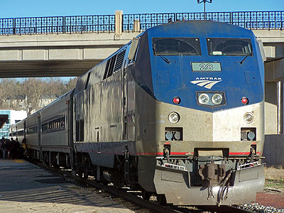 Amtrak's Wolverine train at the Ann Arbor station.