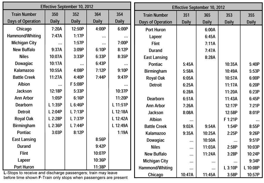 New amtrak timetable reflect faster blue water and wolverine services
