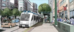 Here's an artist's depiction of the light rail project. (From the M-1 Light Rail Group.)