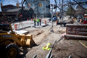 Work on a new bus rapid transit station at the corner of Fulton Street and Ransom Avenue started on Monday, April 1 in Grand Rapids. (Emily Zoladz | Mlive.com)