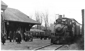 The train from Durand arrives at the Flushing Michigan Depot in 1890. (From the Flushing Historical Society)