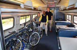 Rory Neuner, LMB's Board Vice Chair and John Lindenmayer, LMB's Advocacy & Policy Director with Derrick James, Director, Government Affairs - Central Amtrak during the May 15th bikes on trains demonstration ride. (Photo courtesy the Michigan League of Bicyclists)