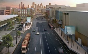 Here's an artist's rendition of the proposed streetcar line on Woodward Avenue in Detroit. (From M-! Rail.)