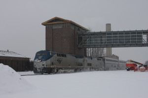 "Amtrak Train #350 ""The Wolverine"" passes through Dearborn in the snow in early January 2014. (Photo by Kenneth Borg)"