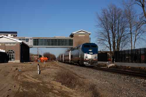 Amtrak's Wolverine Train #355 passes the new Dearborn station still under construction on March 30, 2014. (Photo by Kenneth Borg)