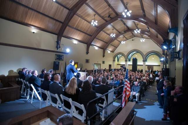 Lansing Mayor Virg Bernero delivered his 2013 State of the City address in the newly restored Grand Trunk Western depot adjacent to BWL's new REO Town power plant. / Courtesy photo