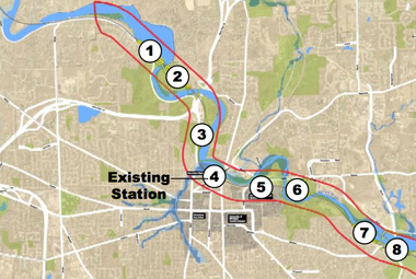 As city officials consider site alternatives for a new train station, eight locations along the east-west tracks that pass through Ann Arbor have been identified as meeting Amtrak's requirement that there be 1,000 feet of straight track.