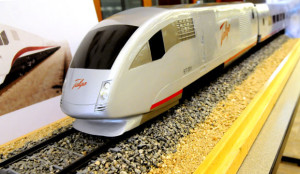 In this 2009 file photo, a model of a high-speed train is seen outside of a press conference where Gov. Jim Doyle announced Wisconsin's partnership with the Spanish train manufacturer Talgo. But after he was elected governor, Scott Walker nixed the plan.