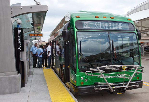 Drivers prepare get on a new Silver Line bus during a training exercise in Grand Rapids Monday, Aug. 18, 2014. (Cory Morse | MLive.com)