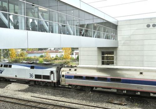 An Amtrak train arrives at the new Troy Transit Center on Tuesday. (Photo: Daniel Mears , The Detroit News )