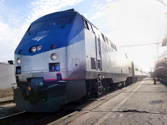 An Amtrak train arrives at the station on Harrison Road in East Lansing. Amtrak says its Blue Water Line had a record number of passengers last year. (Photo: Lansing State Journal file photo )