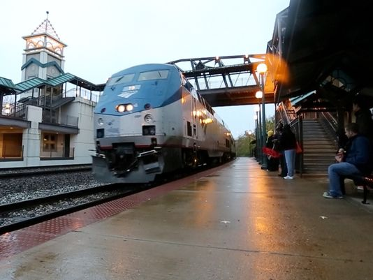 Journal & Courier file photoPassengers prepare to board Amtrak's Hoosier State line at the Riehle Plaza station in downtown Lafayette in 2013