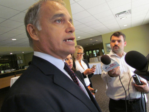 Via Rail CEO Yves Desjardins-Siciliano speaks to reporters on Wednesday June 17, 2015 at a luncheon in Sarnia, Ont. Via announced it is working to expand rail service in Sarnia, beginning in 2016 with additional runs to London. (Paul Morden/Sarnia Observer/Postmedia Network)