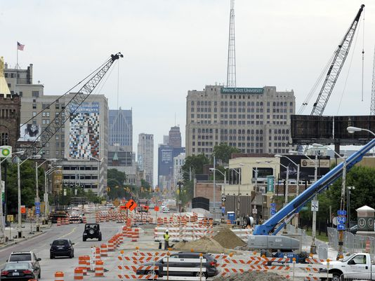 Construction along Woodward Avenue. (From The Detroit News)