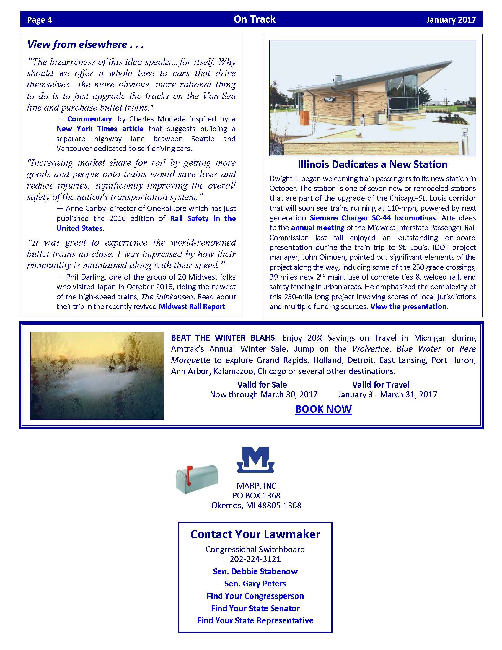 January 2017 edition of OnTrack | Michigan Association of
